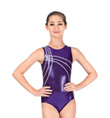 Child Purple with White Ribbon Leotard - Style No 3637C