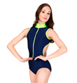 Adult Two Tone Tank Leotard with Zipper Front - Style No 88252
