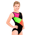 "Child ""Stardust"" Color Block Gymnastic Tank Leotard - Style No G556C"