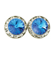 15mm Swarovski Sapphire Performance Earrings Pierced - Style No JESAP15P-6P