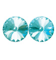 14mm Swarovski Aqua Simple Rivoli Earrings Pierced - Style No JESRAQU14P-6P