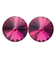 14mm Swarovski Fuchsia Simple Rivoli Earrings Pierced - Style No JESRFUC14P-6P