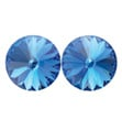 14mm Swarovski Sapphire Simple Rivoli Earrings Pierced - Style No JESRSAP14P-6P