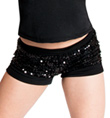Girls Black Sequin Shorts - Style No K5127