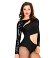 Long Sleeve Cut Out Leotard with Attached Sequin Shrug - Style No LS114