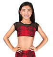 Girls Red Print Cap Sleeve Crop Top - Style No M3773789C