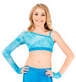 Girls One Sleeve Glitter Lace Crop Top - Style No N7196C