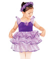 """Purple Rose"" Child Flutter Sleeve Dress - Style No TH1027C"