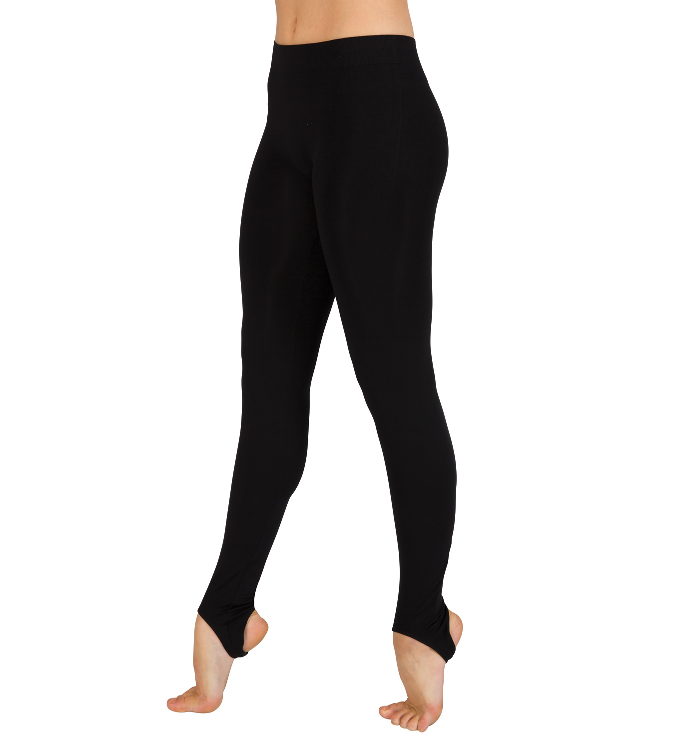Stirrup pants (or stirrup leggings) are a type of close-fitting ladies' pant that tapers at the ankle, similar to leggings, except that the material extends to a band, or strap, that is worn under the arch of the foot to hold the pant leg in place. The band of material is often elasticized to .