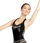 Adult Tribalesque Front Pleat Halter Leotard