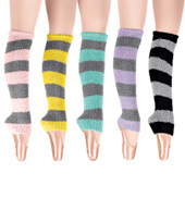 Adult/Child 18 Two-Tone Stripe Fuzzy Legwarmers