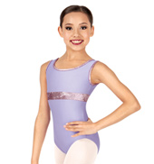 Child/Teen Eileen Metallic Velvet Tank Leotard