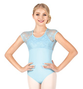 Child/Teen Maria Metallic Lace Short Sleeve Leotard