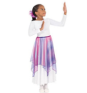 Lyrical Metallic Tulle Handkerchief Skirt for Girls