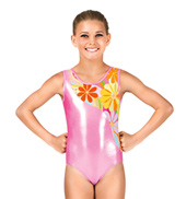 Child Gymnastics Tank Metallic Flower Insert Leotard