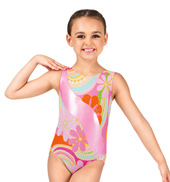 Child Gymnastics Tank Metallic Flower Leotard with Insert