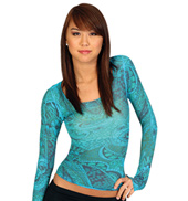 Long Sleeve Sheer Paisley Top