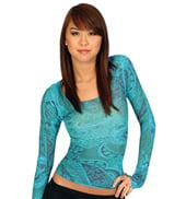 Adult Long Sleeve Sheer Paisley Top