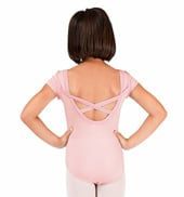 Girls Short Sleeve Leotard with X-Back