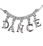 Rhinestone DANCE Charm Necklace