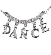 Rhinestone DANCE Charm Necklace