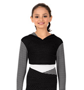 Child Dot & Stripes Long Sleeve Warmup Hooded Crop Top