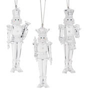 Clear Acrylic Nutcracker Ornament - Set of 3