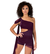 Adult One Shoulder Unitard with Attached Skirt