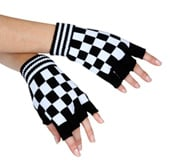 White Checkered Fingerless Gloves