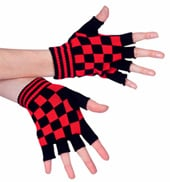 Red and Black Checkered Palm Gloves