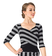 Adult Striped Knit Wrap Front Warm Up Top