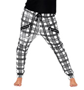 Plaid Zipper Pocket Harem Sweat Pants