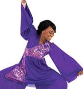 Plus Size Stained Glass Bell Sleeve Praise Wear Tunic