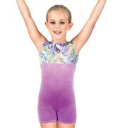 Child Gymnastics Velvet Paisley Two-Tone Tank Biketard