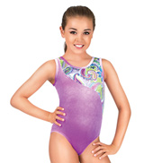 Child Gymnastics Velvet Paisley Splice Tank Leotard