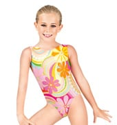 Child Gymnastics Tank Metallic Flower Leotard