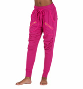 Girls Zipper Pocket Harem Sweat Pants