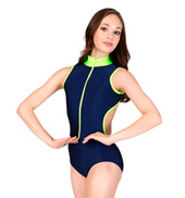 Adult Two-Tone Tank Leotard with Zipper Front