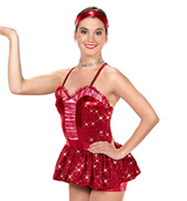 Girls Baby Its Cold Outside Romper Costume in Red