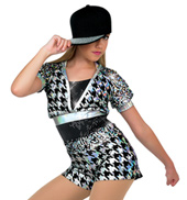 Adult Hologram Metallic Short Sleeve Costume Unitard