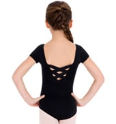 Girls Short Sleeve Leotard w/ X-Cross Back