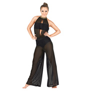 Adult Gold Chain High Neck Mesh Jumpsuit