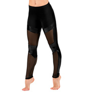 Adult Pleather and Mesh Leggings