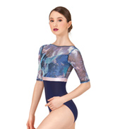 Adult Printed Mesh Half Sleeve Leotard