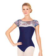 Adult Printed Mesh Short Sleeve Leotard