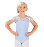 Girls Floral Lace Cap Sleeve Leotard
