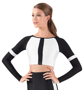 Two-Tone Long Sleeve Crop Top