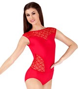 Lace Cutout Cap Sleeve Leotard