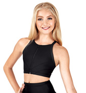 Child Zipper Front X-Back Crop Top