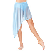 Child Mid Length Asymmetrical Mesh Dance Skirt